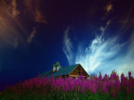 Обои Домик, утопающий в цветах, под облачным небом, фотограф Giuseppe Lazzara