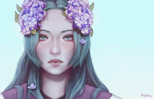 Обои Синеволосая девушка с сиренью на голове, by Hidatsenka