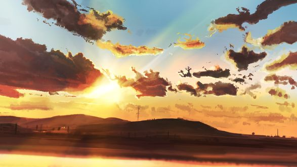 Обои Солнце в облачном небе над горами