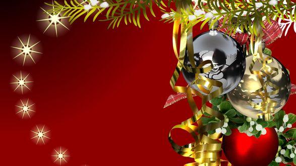 Обои Елочная ветка с новогодними игрушками и серпантином на красном фоне с мерцающими кругами