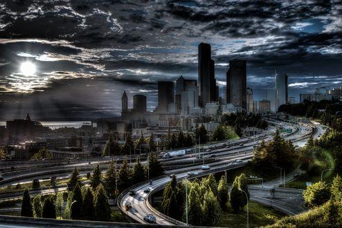 Обои Вечерний вид сверху на Dr. Jose Rizal Park, Seattle / Доктор Парк Рисаль Хосе, Сиэтл