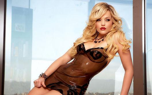 Обои Модель Alexis Texas / Алексис Техас в силиконовом платье позирует сидя на подоконнике