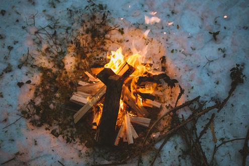 Обои Горящие дрова в костре на снегу, фотограф igor cibulsky