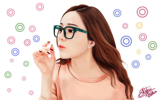 Обои Южно-корейская девушка в очках, by Khushiart