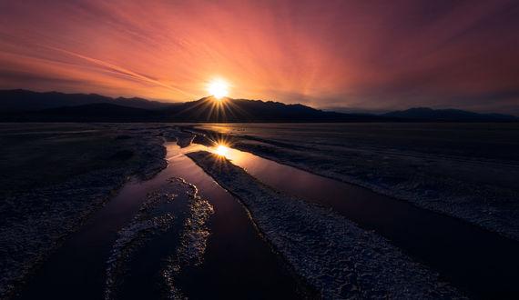 Обои Рассвет в Salt Creek Flats, Death Valley / Солт-Крик, Долине Смерти, фотограф Mital Patel