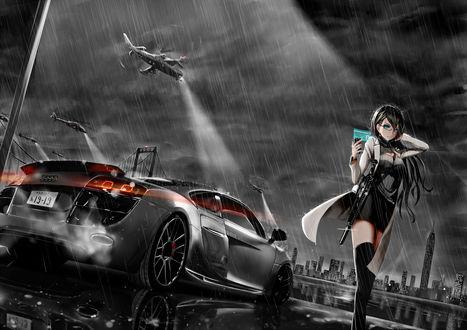 Mireille Bouquet / Мирей Буке с автоматом на фоне ночного города, авто и вертолетов из аниме Noir / Нуар