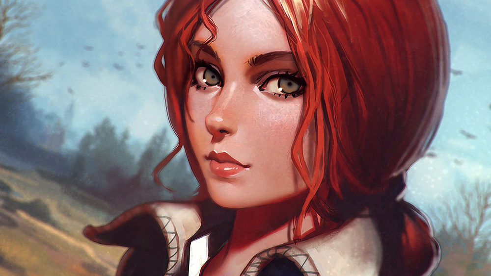 Обои для рабочего стола Трисс Меригольд / Triss Merigold из игры Ведьмак 3: Дикая Охота / The Witcher 3: Wild Hunt, by Илья Кувшинов