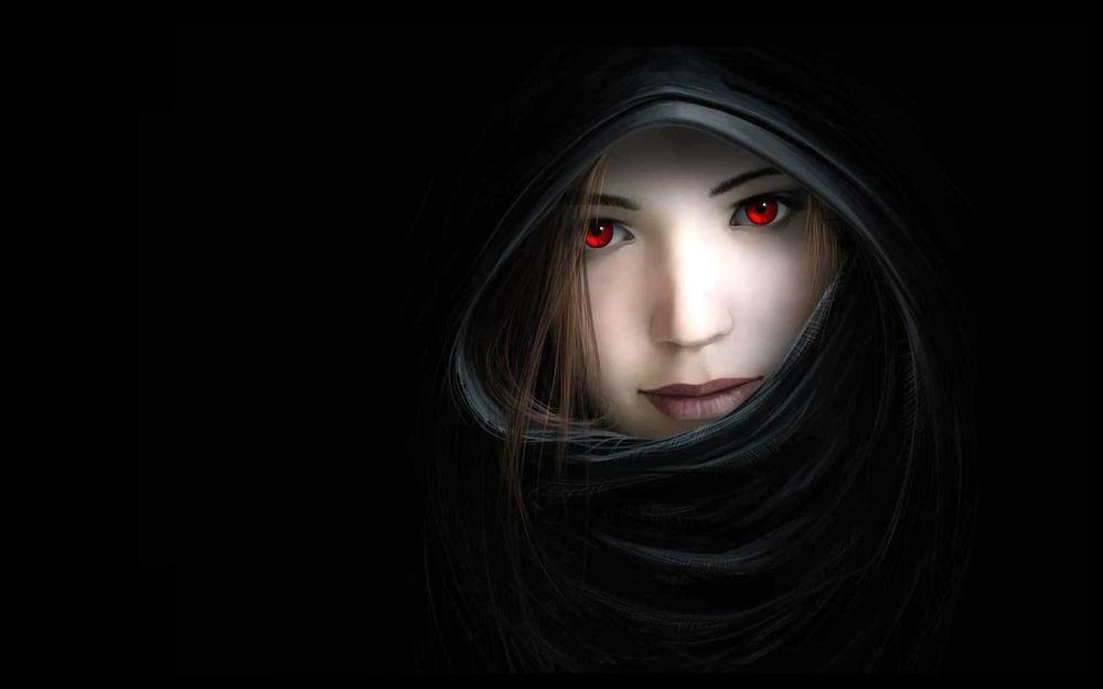 Обои для рабочего стола Девушка с красными глазами, в черном капюшоне на черном фоне