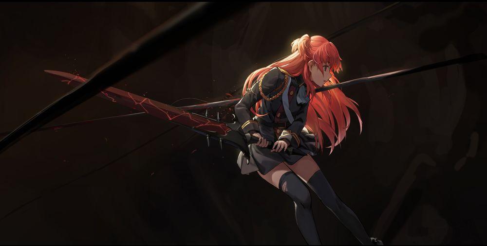 Обои для рабочего стола Рыжая девушка в военной форме с окровавленным мечем ранена копьем