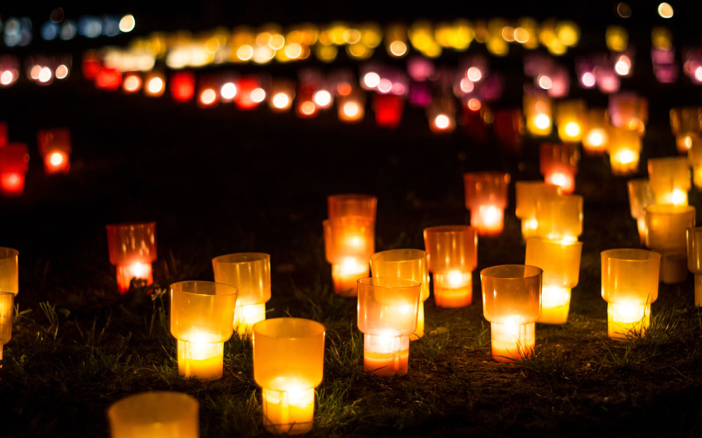 Обои для рабочего стола Множество красно-золотых фонариков на траве в ночи
