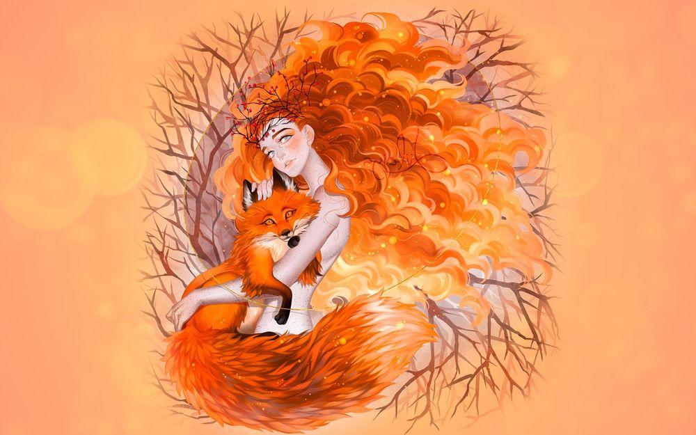 Обои для рабочего стола Девушка-осень с кучерявыми волосами держит на руках лису, by luleiya