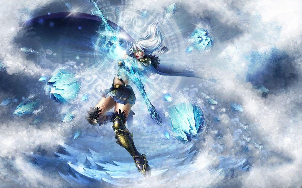 Обои для рабочего стола Воительница с зеленым светом в глазах и луком из льда на фоне магического круга, Ashe, League Of Legends