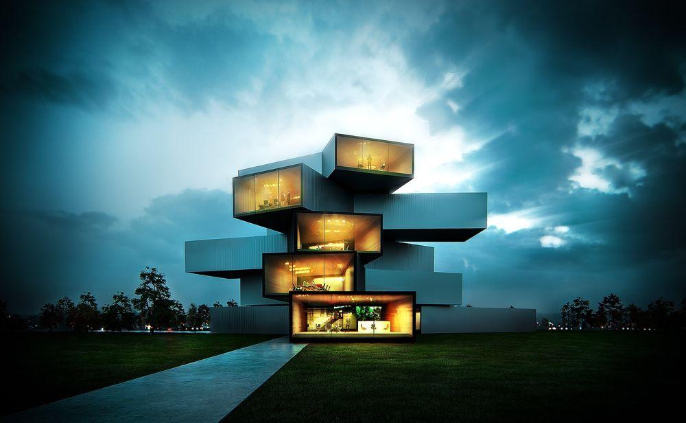 Обои для рабочего стола Пятиэтажное здание в стиле Modern House по среди зеленого газона на фоне неба и деревьев