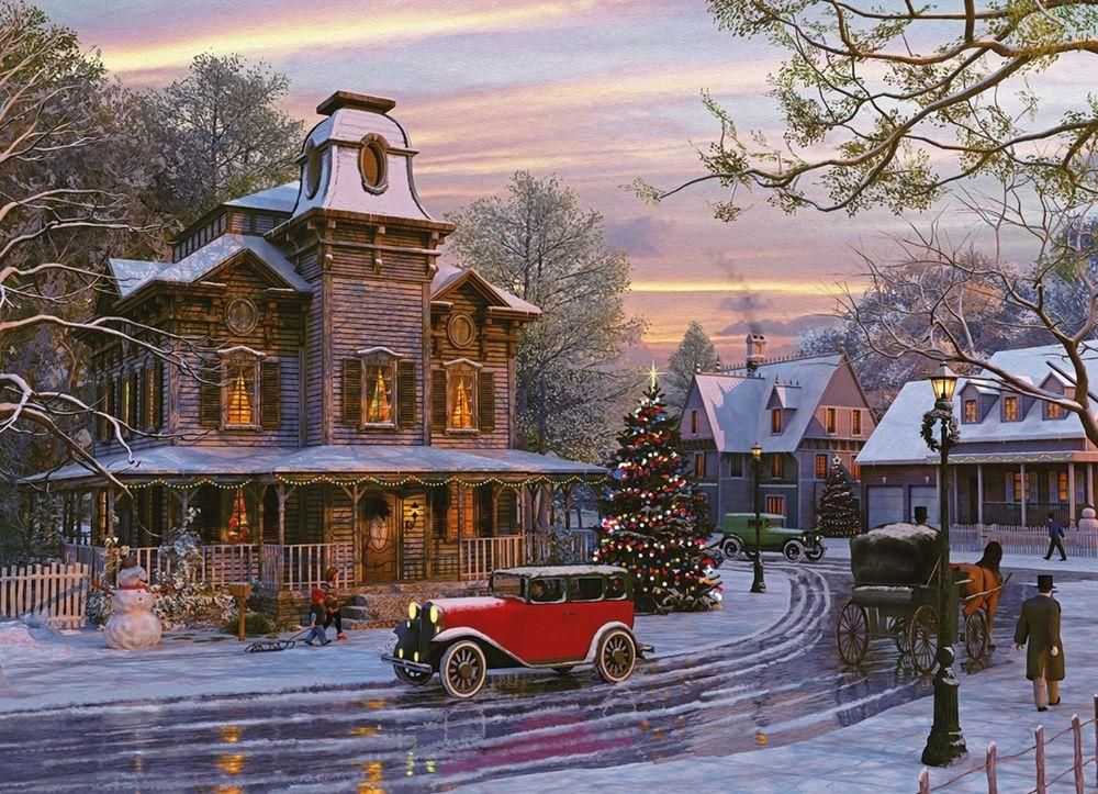 Обои для рабочего стола Рождество в деревне в начале века. Растаявшая дорога, дома, автомобили и люди, by Dominic Davison