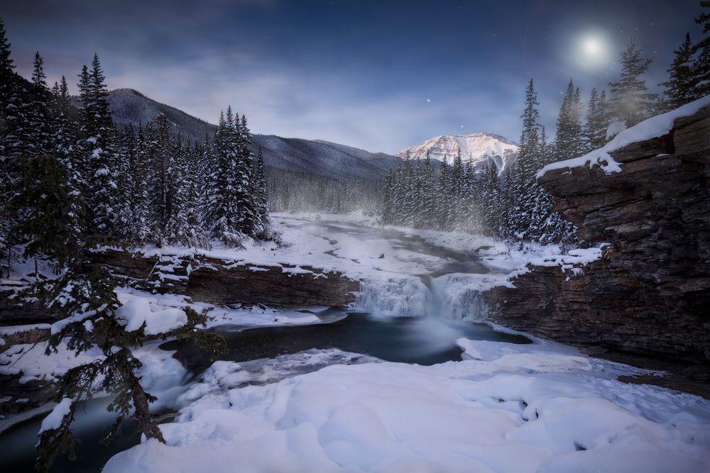 Обои для рабочего стола Незамерзающий горный ручей зимой, с заснеженными елями на берегах, Kananaskis, Alberta, Canada / Кананаскис, Альберта, Канада, фотограф Paul Goodwill