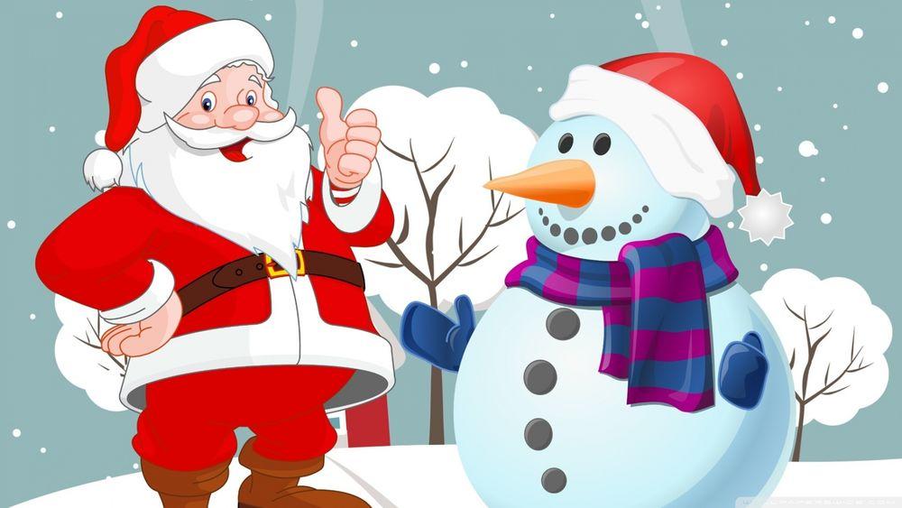 Обои для рабочего стола Дед Мороз со снеговиком