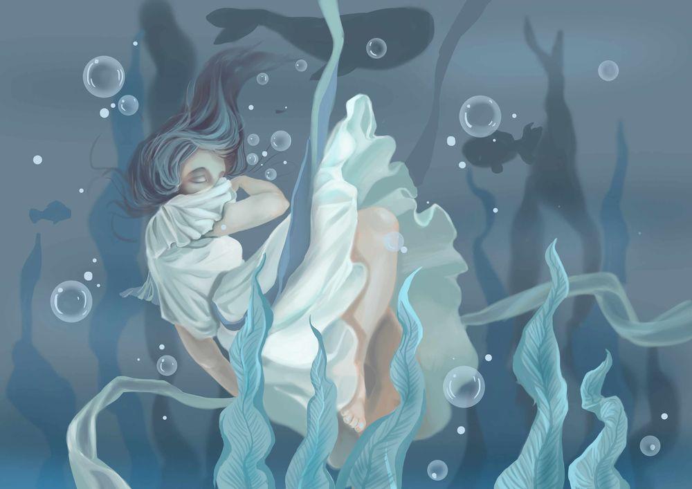 Обои для рабочего стола Длинноволосая девушка в белом платье под водой, by Silent-Flowers
