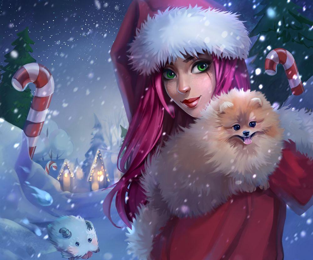 Обои для рабочего стола Девушка в новогоднем наряде с собакой на руках под падающим снегом стоит на дорожке, где сидит овечка- символ уходящего года, by Julia Kovalyova