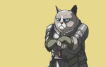 Обои Сердитый кот в рыцарских доспехах на желтом фоне