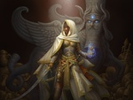 Обои Ojha-девушка-воин, с саблей и магическим светящимся предметом в руках, стоит рядом с мифическим чудовищем, by GoldenDaniel
