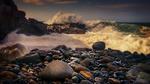 Обои Волны на скалистом берегу, фотограф Ray Bilcliff