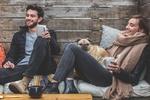 Обои Радостные парень и девушка с чашками в руках и их пес рядом