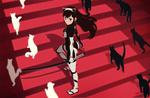 Обои Девушка с катаной в окружении белых и черных кошек, by Hong SoonSang