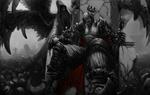 Обои Король нежити, сидящий на троне, за которым стоит ангел смерти