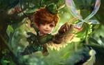 Обои Маленький разбойник, летя на лиане, пытается дотянутся до бабочки, by xiong jiajie