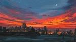 Обои Пара сидит на трубе на крыше, любуясь огненным заревом в ночном небе, art by Alena Aenami