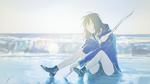 Обои Девушка с палкой в руках сидит на морском берегу, by loundraw