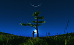 Обои Девушка стоит у дерева на фоне лунного, звездного неба, by Devjit