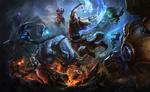 Обои Битва героев игры League of Legends / Лига Легенд с монстрами