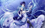 Обои Вокалоиды / Vocaloid Мику Хатсуне / Hatsune Miku и Кайто / Kaito танцуют
