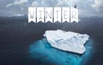 Обои Слово Winter / зима на флажках на фоне неба и айсбергов