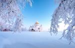 Обои Белогорский монастырь на фоне неба зимой, Пермский край, Россия