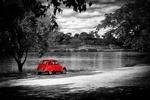 Обои Красный автомобильчик на берегу реки, by Aristeidis Tsitiridis