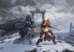 Обои Бой на заснеженной горе кронпринца Arthas / Артаса и рыжеволосой Sonya / Сони из игры Heroes of the Storm / Герои шторма