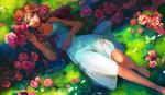 Обои Рыжеволосая девушка в платье лежит на зеленой траве среди цветов, by Jyundee