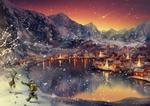 Обои Небольшой городок у озера между гор в новогоднем убранстве и дети, бегающие по снегу