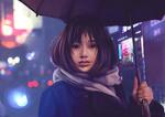 Обои Азиатская девушка под зонтом на фоне города, by Aliena85