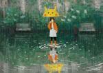 Обои Девушка с зонтом стоит под дождем, by Ксения Трефилова