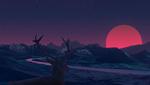 Обои Олень смотрит на заход солнца