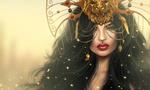 Обои Девушка с распущенными черными волосами в маске льва на размытом фоне