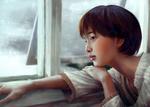 Обои Японская актриса Gouriki Ayame / Аямэ Горики у окна, by skleung
