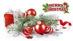 Обои Коробка с лентой, новогодние шары и ветка ели, (Merry Christmas / С Рождеством Христовым)