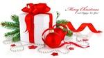 Обои Коробка с красной лентой, шары и ветка елки, (Merry Christmas, Happy-New-Year / С Новым годом, Рождеством)