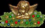 Обои Статуэтка ангелочка с еловыми ветками, снежинками и елочными игрушками, новый год, рождество