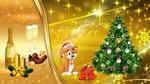 Обои Новогодняя композиция с шампанским, наряженная елка и собачка в праздничной шапке (Волшебного Нового Года!)