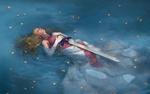 Обои Принцесса Зельда / Зельда с мечем лежит в воде из серии игр The Legend of Zelda